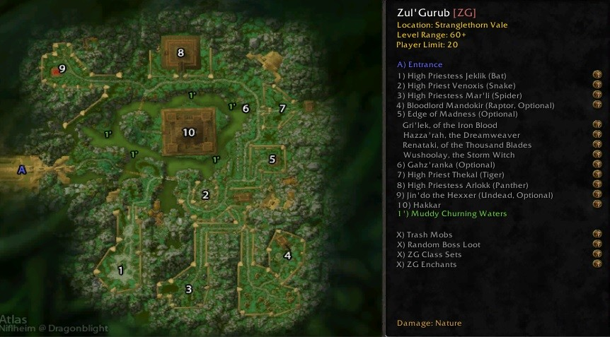 Zul Gurub raid guide map